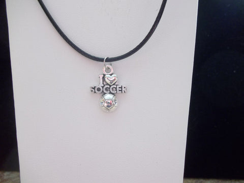 "Black Leather Silver ""I love Soccer"" Necklace (N405)"