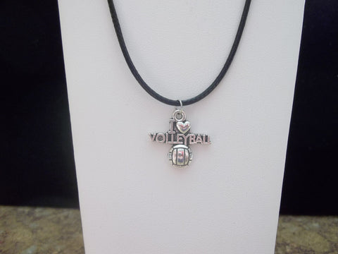 "Black Leather Silver ""I love Volleyball"" Necklace (N406)"