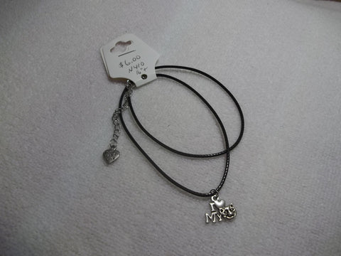 Black Leather Silver I Love My Cat Necklace (N410)