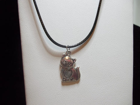 Black Leather Silver Cat w/Heart on Belly Necklace (N411)