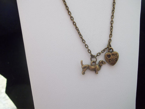 Bronze Dachshund w/paw print and love my dog Necklace (N413)