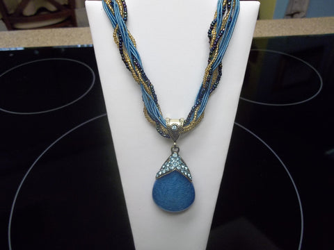 Blue Braided Glass Tear Drop Necklace (N421)