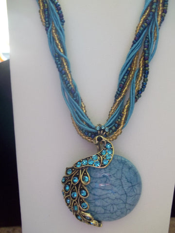 Light Blue Braided Glass Peacock Necklace (N422)