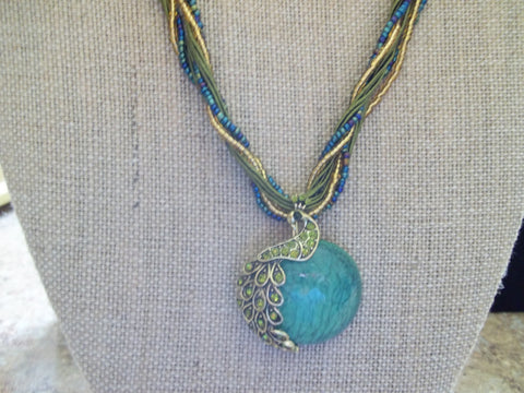 Green Braided Glass Peacock Necklace (N424)