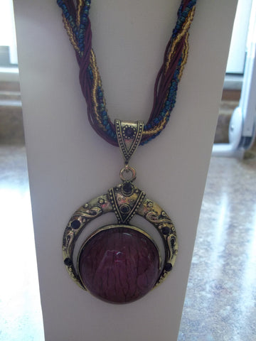 Burgundy Braided Glass Circle Necklace (N426)