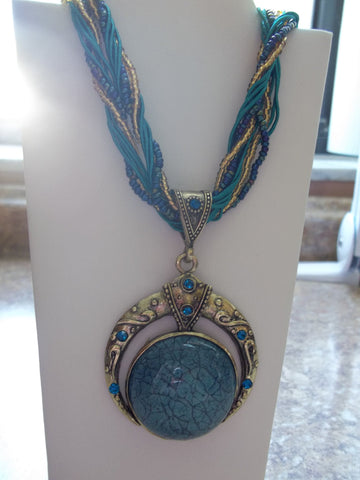 Blue Braided Glass Circle Necklace (N428)