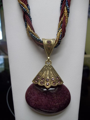 Burgundy Braided Cone w/Oval Glass Bead Necklace (N432)