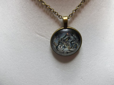 Silver Gear's Bicycle Bubble Necklace (N434 Silver or Bronze)