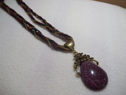 Burgundy Braided Tear Drop Flower Necklace (N447)