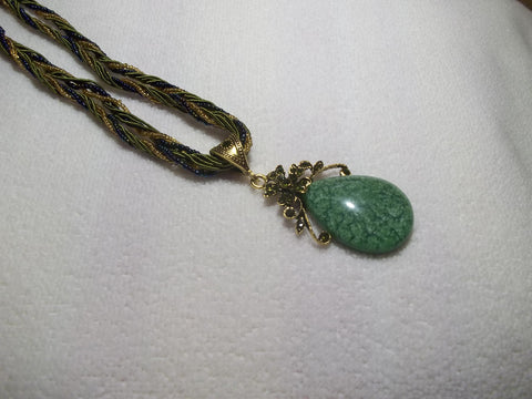 Green Braided Tear Drop Flower Necklace (N449)