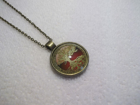 Bronze Red Tree Bubble Necklace (N452)