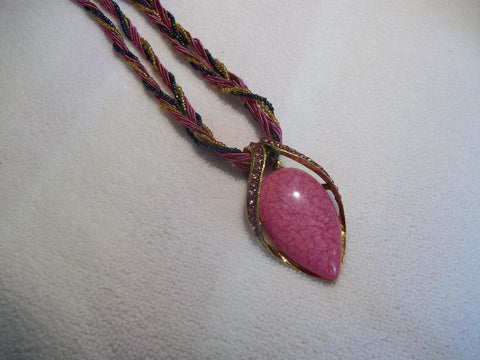 Pink Braided upside down Tear Drop Bead Necklace (N461)