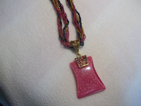 Pink Braided Rectangle Bead Necklace (N464)