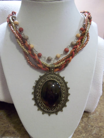 Bronze/Brown Oval Charm w/Twisted Beads Leather Necklace (N466)