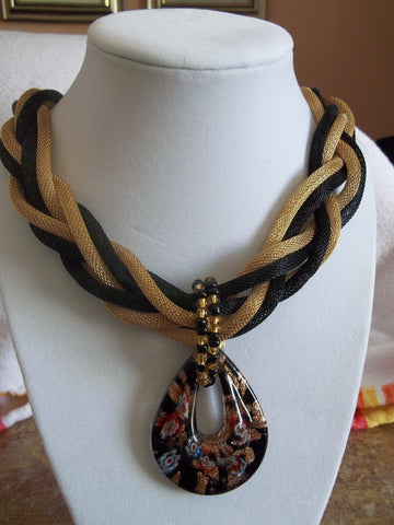 Gold/Black Braided wire Mesh w/Black Glass Pendant Necklace (N472)
