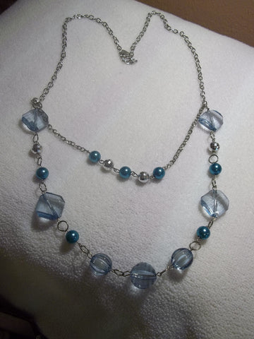 Double Silver Chain Blue Glass Bead Necklace (N474)