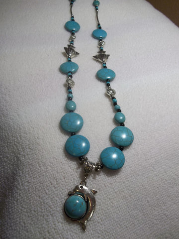 Silver Turquoise Glass Bead Fish and Dophin Necklace (N476)