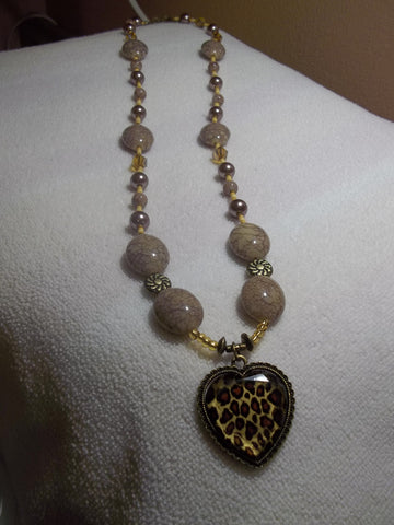 Brown/ Bronze Glass Bead Crackle Oval Beads w/Leopard Heart Pendant Necklace (N477)
