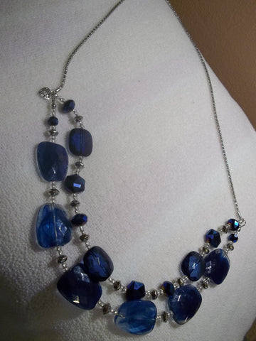 Double Silver Chain w/Blue Crystal Bead Necklace (N483)