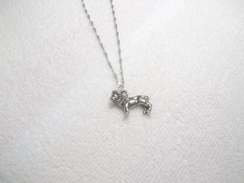 Silver Twisted Chain w/ Silver Lion Necklace (N504)