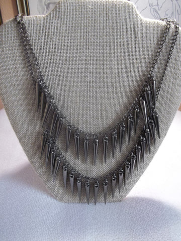 Metal Gray Double Cone Bib Necklace (N509)