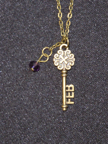 Bronze Key February Birthstone Necklace (N520)