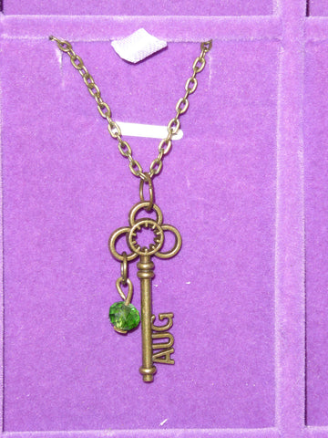 Bronze Key August Birthstone Necklace (N526)