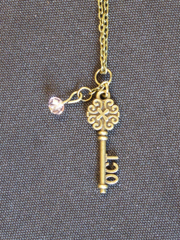 Bronze Key October Birthstone Necklace (N528)
