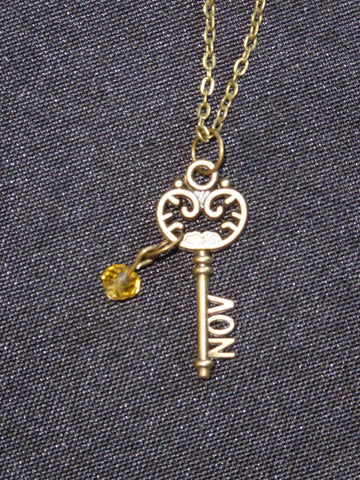 Bronze Key November Birthstone Necklace (N529)