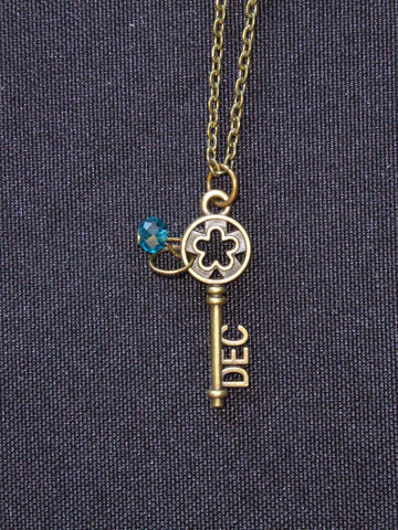 Bronze Key December Birthstone Necklace (N530)