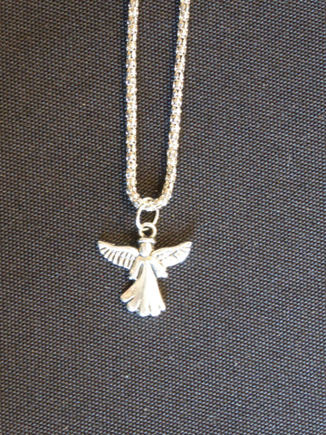 Silver Coreana Chain w/Silver Scalloped Dress Angel Necklace (N538)