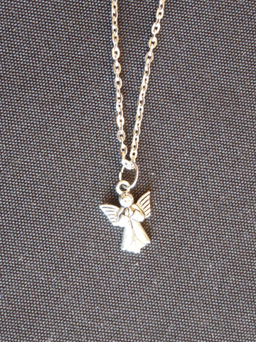 Silver Praying Angel Necklace (N539)