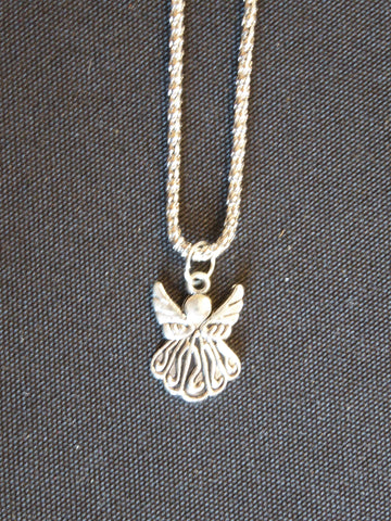 Silver Coreana Chain/Two Sided Angel Necklace (N540)
