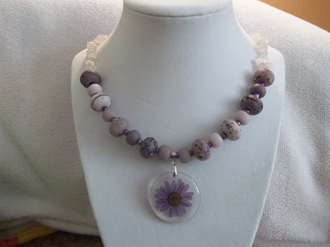 Glass Purple Mixed Bead w/Rocks Chips Purple Dried Flower Pendant Necklace (N589)