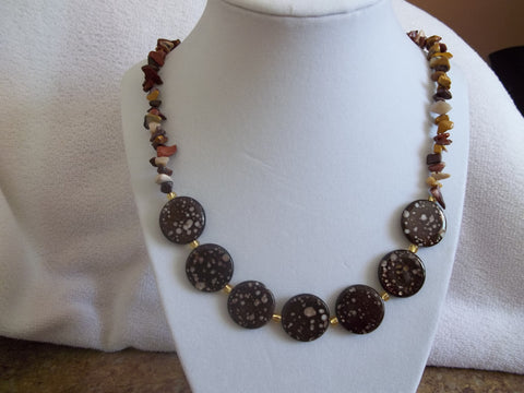 Brown Multi Rock w/Brown Glass Flat Circle Beads Necklace (N591)