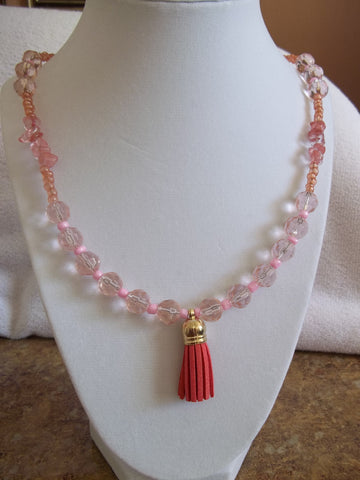 Light Pink Glass Multi Bead w/Rocks w/Red Tassel Necklace (N592)