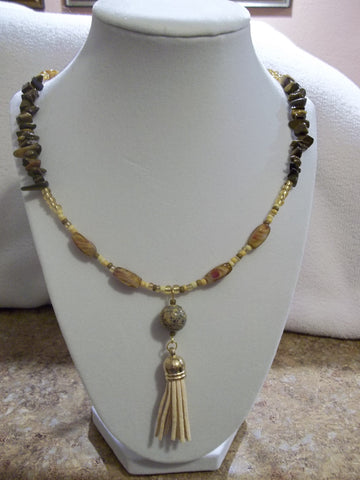 Gold/Brown Glass Bead Rocks w/Tan Tassel Necklace (N599)