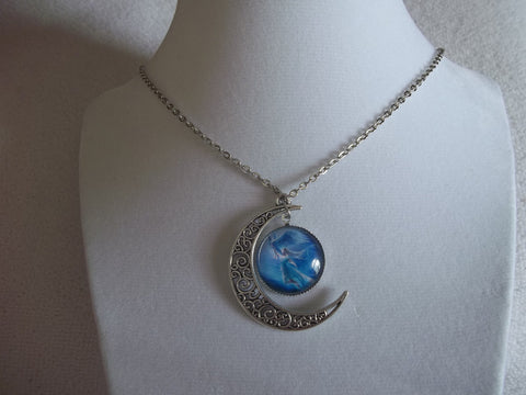 Silver Moon Blue Angel Flying Bubble Necklace (N601)