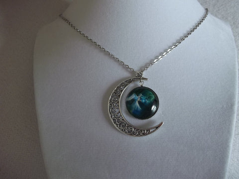 Silver Moon Green Angel Bubble Necklace (N602)