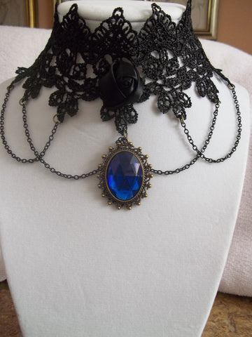 Black Lace Black Rose Blue Pendant Black Chain Choker Necklace (N604)