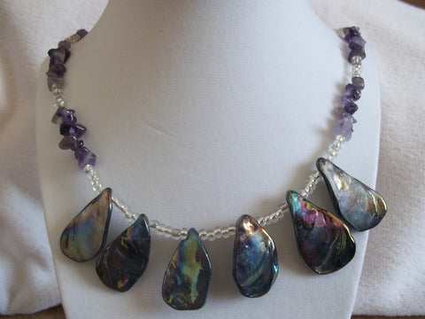 Purple Abalone Shell Rock Necklace (N607)