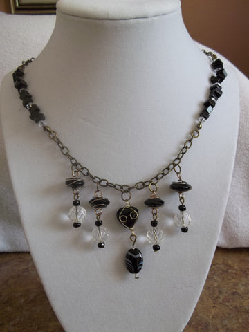 Bronze Chain Black/Clear Crystal Black Wrapped Bead Necklace (N611)