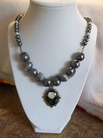 Gray Pearls w/Ribbon White Beads Bronze White Rose Pendant Necklace (N617)