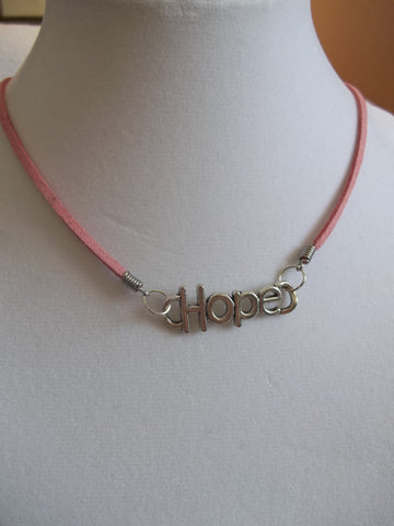 "Pink Leather Silver ""Hope"" Necklace (N621)"