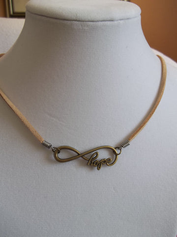 Tan Leather Bronze Hope Necklace (N622)
