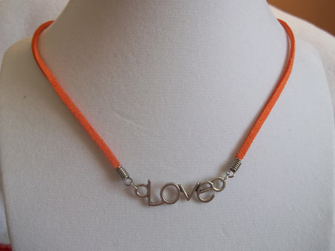 "Orange Leather Silver ""Love"" Necklace (N623)"