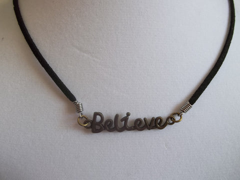 "Black Leather Bronze ""Believe"" Necklace (N624)"
