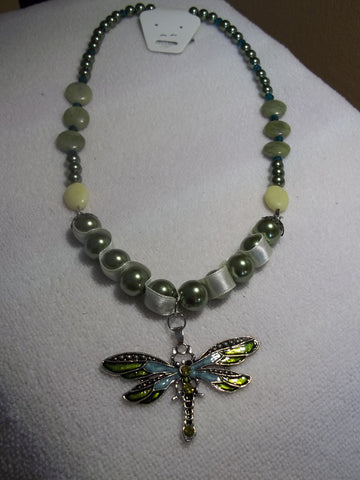Green Pearls w/Ribbon Green Glass Beads Green Dragonfly Pendant Necklace (N626)