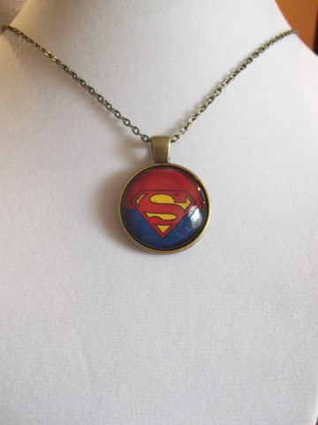 Bronze Bubble Old School Superman Necklace (N629)