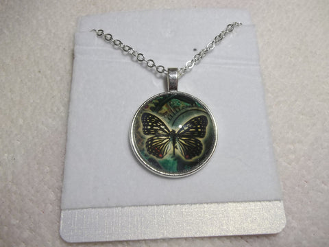 Silver Bubble Black/Green Butterfly Necklace (N638)